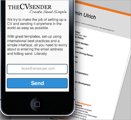 theCVsender Home Screen
